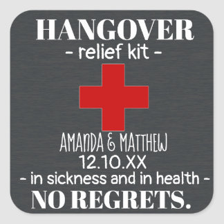Rustic Chalkboard Hangover Relief Kit Favour Square Sticker