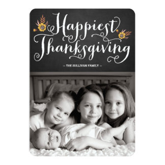 Rustic Chalkboard Happiest Thanksgiving Card