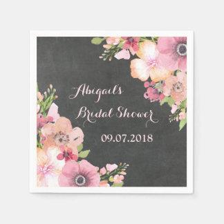 Rustic Chalkboard Pink Bridal Shower Napkins Disposable Serviettes