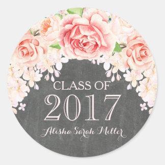Rustic Chalkboard Pink Watercolor Flower Grad 2017 Classic Round Sticker