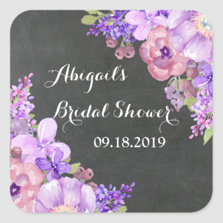 Rustic Chalkboard Purple Floral Bridal Shower Tag Square Sticker
