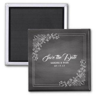 Rustic Chalkboard Save the Date Winter Wedding Magnet