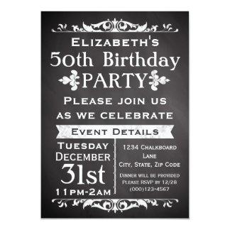 Rustic Chalkboard Slate 50th Birthday Party 13 Cm X 18 Cm Invitation Card