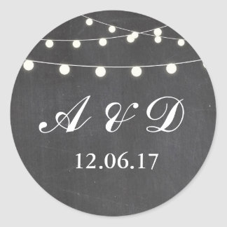 Rustic Chalkboard String Lights Stickers Labels