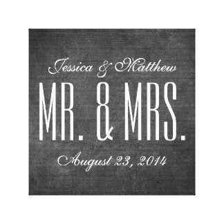 Rustic Chalkboard Style Wedding Stretched Canvas