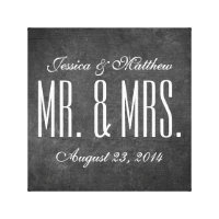 Rustic Chalkboard Style Wedding Stretched Canvas Canvas Print