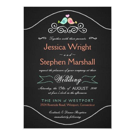 Rustic Chalkboard Wedding LoveBirds Card