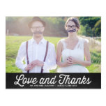 RUSTIC CHALKBOARD WEDDING PHOTO THANK YOU POSTCARD at Zazzle