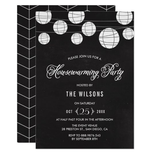 Rustic Chalkboard with Lanterns Housewarming Party Card