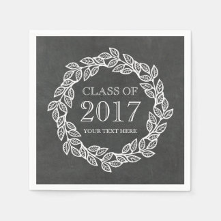Rustic Chalkboard Wreath Class of 2017 Graduation Disposable Serviettes
