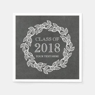 Rustic Chalkboard Wreath Class of 2018 Graduation Paper Serviettes