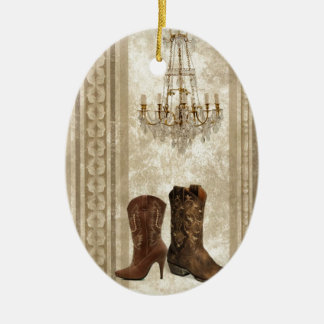 Rustic Chandelier Western country cowboy boots Ceramic Oval Decoration