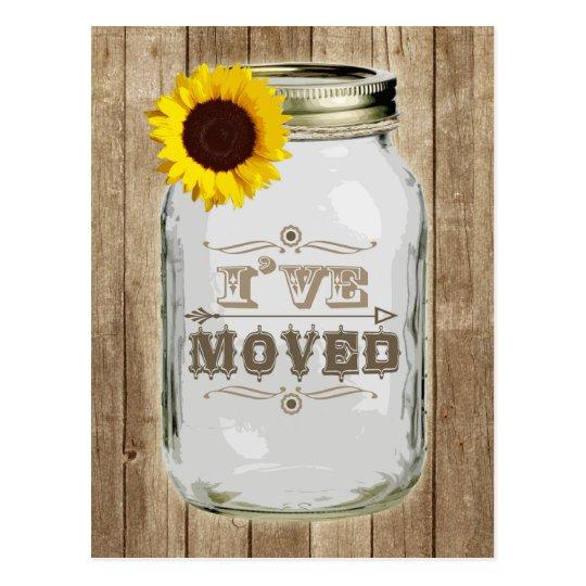 Rustic Change Of Address Mason Jar Sunflower I've