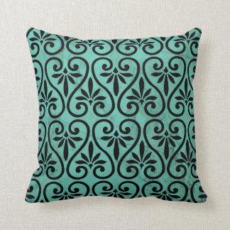 Rustic Charm Aqua and Black Floral Swirls Grunge Cushions