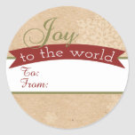 Rustic Charm Joy To The World Holiday Gift Tags