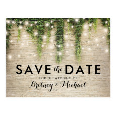 Rustic Chateau Stone Church Lights Save the Date