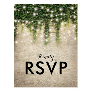 Rustic Chateau Stone Church Lights Wedding RSVP Postcard