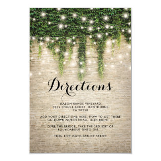 Rustic Chateau Stone Church Wedding Directions Card