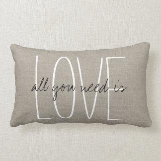 Rustic Chic All You Need is Love Lumbar Cushion