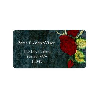Rustic Chic Aqua Vintage Rose Wedding Label