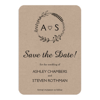 Rustic chic bothanical wedding save the date 9 cm x 13 cm invitation card
