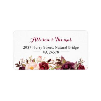Rustic Chic Burgundy Marsala Red Floral Wedding Address Label