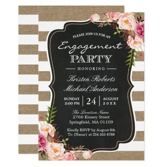 Rustic Chic Burlap Stripes Floral Engagement Party Card