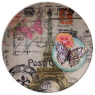 rustic chic butterfly scripts paris eiffel tower plate