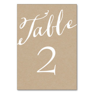 Rustic Chic Calligraphy Table Numbers Table Cards
