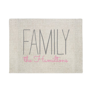 Rustic Chic Family Monogram IN BEIGE GREY AND PINK Doormat