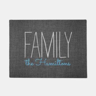 Rustic Chic Family Monogram IN DARK GREY AND BLUE Doormat