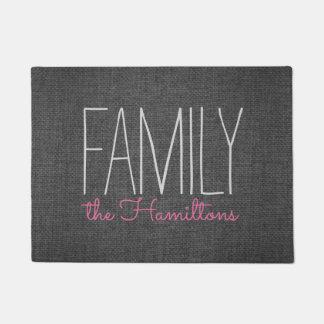 Rustic Chic Family Monogram IN DARK GREY AND PINK Doormat