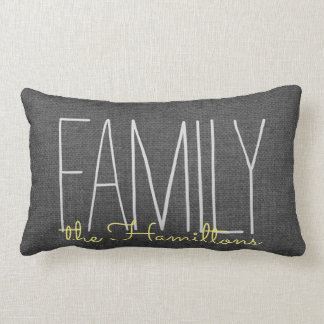 Rustic Chic Family Monogram IN DARK GREY YELLOW Lumbar Cushion