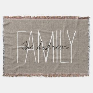 Rustic Chic Family Monogram Throw Blanket