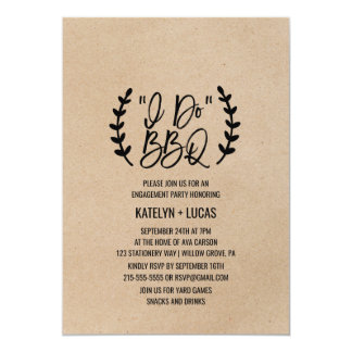 Rustic Chic Faux Kraft Calligraphy I Do BBQ Card