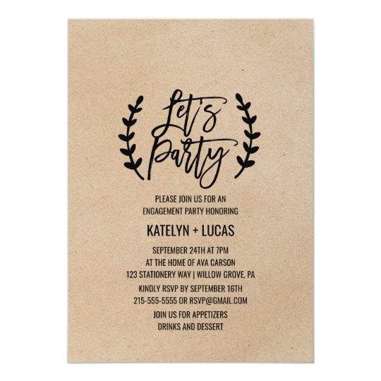 Rustic Chic Faux Kraft Calligraphy Let's Party Card