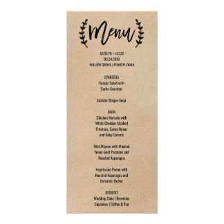 Rustic Chic Faux Kraft Calligraphy Menu Card