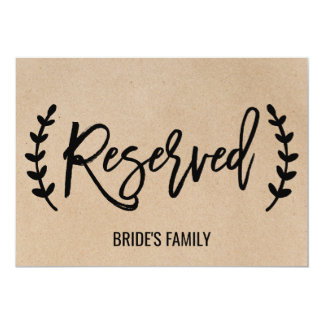 """Rustic Chic Faux Kraft Calligraphy """"Reserved"""" Sign Card"""