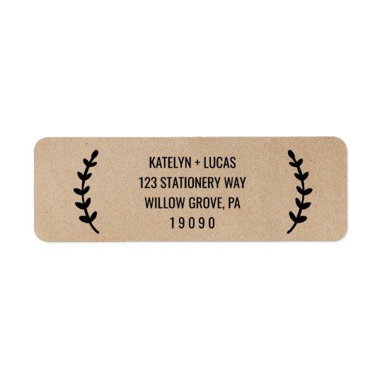 Rustic Chic Faux Kraft Wedding Return Address Label