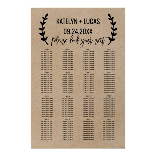 Rustic Chic Faux Kraft Wedding Seating Chart
