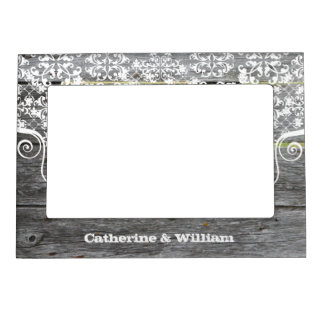 Rustic Chic Fence Custom Wedding Photo Magnetic Picture Frame