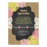 Rustic chic girl baby sprinkle / burlap chalkboard 13 cm x 18 cm invitation card
