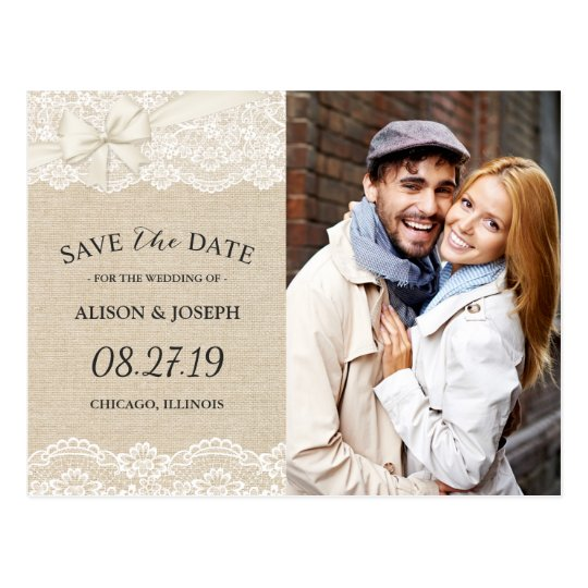 Rustic Chic Ivory Burlap Lace Save the Date
