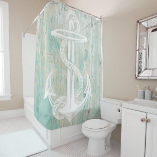 Rustic chic nautical shower curtain