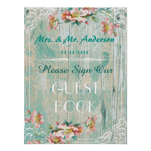 rustic chic poster ,wedding guestbook poster
