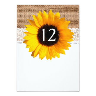 Rustic Chic Sunflower Wedding Table Number Card