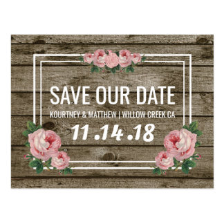 Rustic Chic Vintage Floral Save Our Date Postcard
