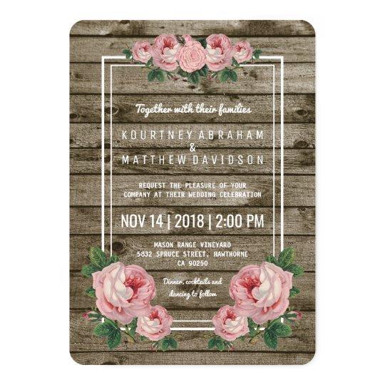 Rustic Chic Vintage Floral Wedding Card