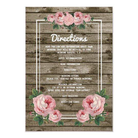 Rustic Chic Vintage Floral Wedding Details Card