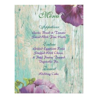 rustic chic wedding menu 21.5 cm x 28 cm flyer